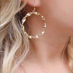 Gold Twisted Circle Earrings